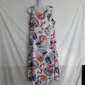 Koret Full Button Front Floral Midi Dress PXL